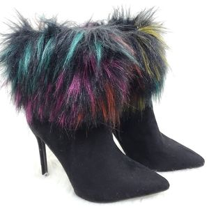 Liliana Faux Fur Pointed Toed Siletto ankle bootie